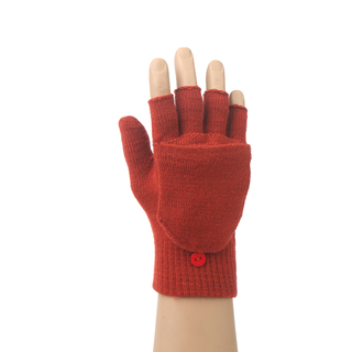 Winter plain color knit gloves with cover