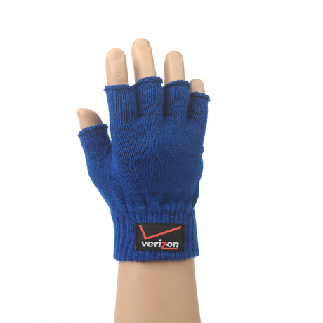 Winter custom knit sport fingerless gloves with woven label